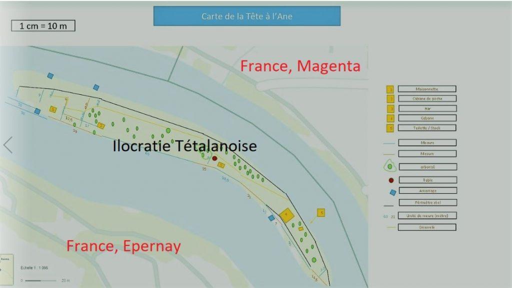 Situation de l'île de la Tête à l'âne entre Epernay et Magenta en Champagne en France