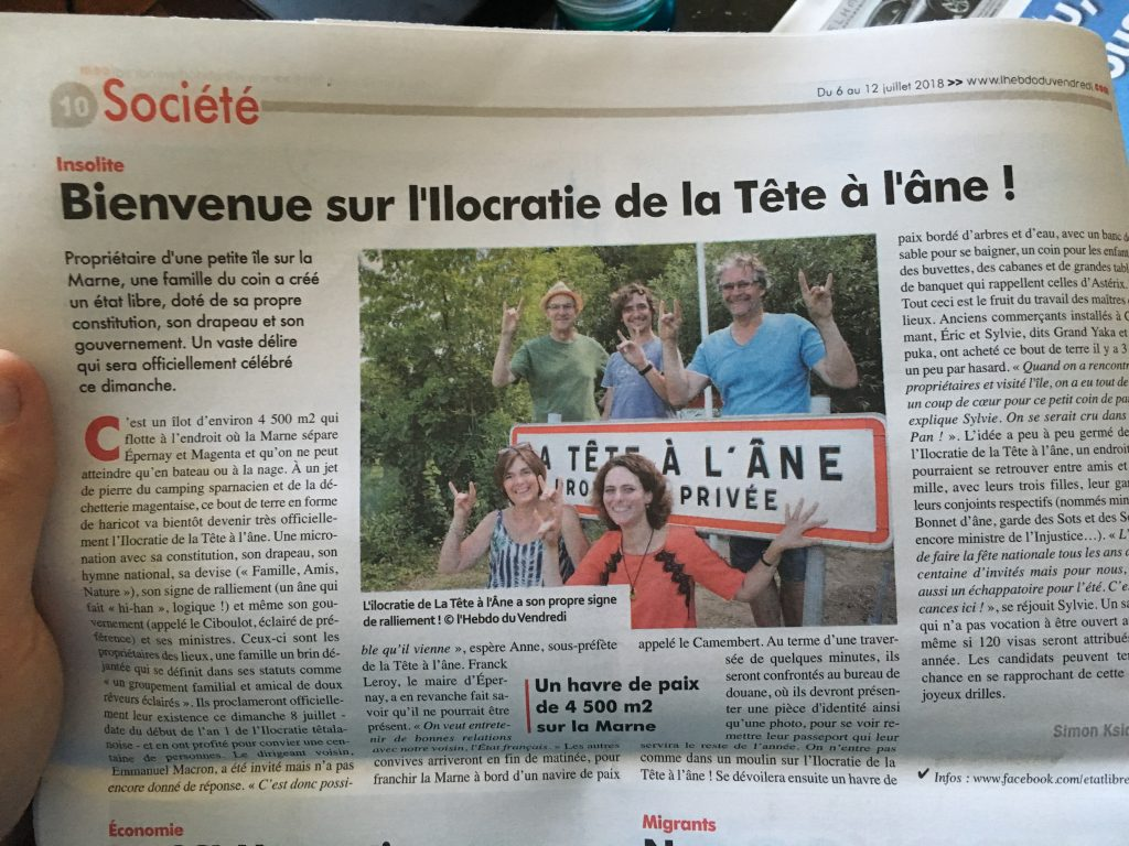 Hebdo du vendredi- Presse - Article - ilocratie tetalanois - Tête à l'âne - Etat libre - Micronation - Epernay - Marne